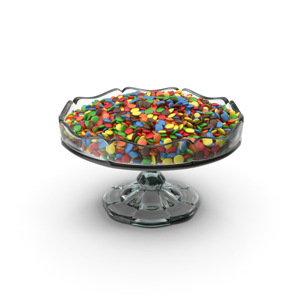 Candy: Fancy Glass Bowl With M&M's PNG & PSD Images