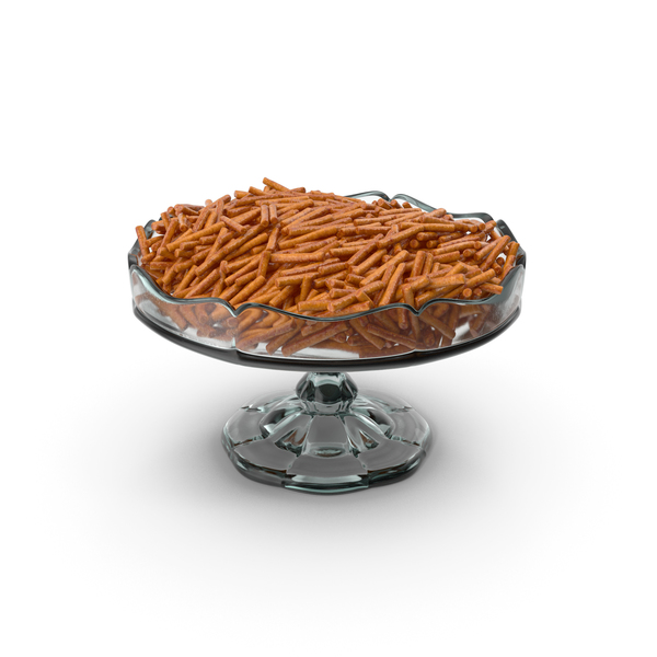 Fancy Glass Bowl With Pretzel Sticks PNG & PSD Images