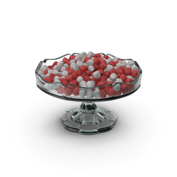 Fancy Glass Bowl with Sugar Coated Tapered Gummy Candy PNG & PSD Images