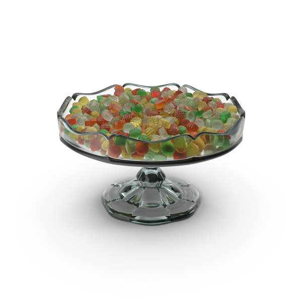 Fancy Glass Bowl With Tapered Gummy Candy PNG & PSD Images
