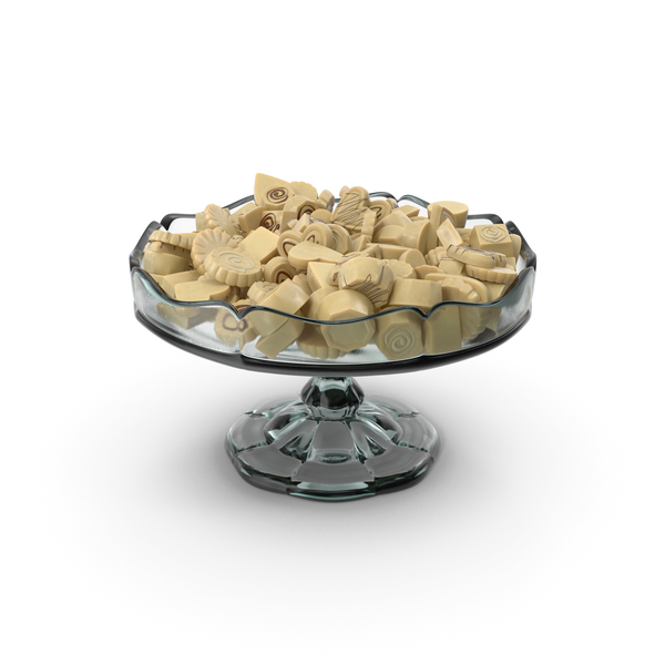 Fancy Glass Bowl with White Chocolate Truffles PNG & PSD Images