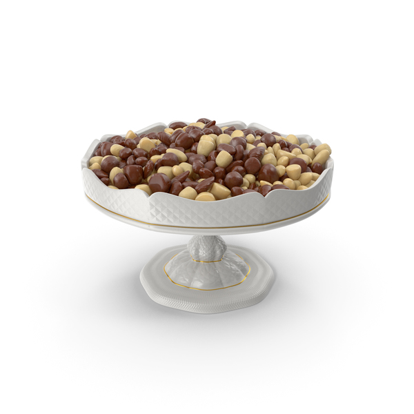 Fancy Porcelain Bowl with Almond Mixed Chocolate Candy PNG & PSD Images