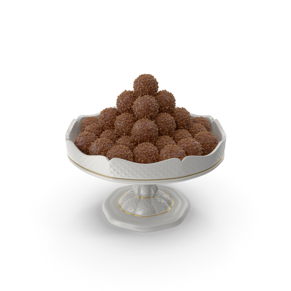 Fancy Porcelain Bowl with Chocolate Balls with Nuts PNG & PSD Images