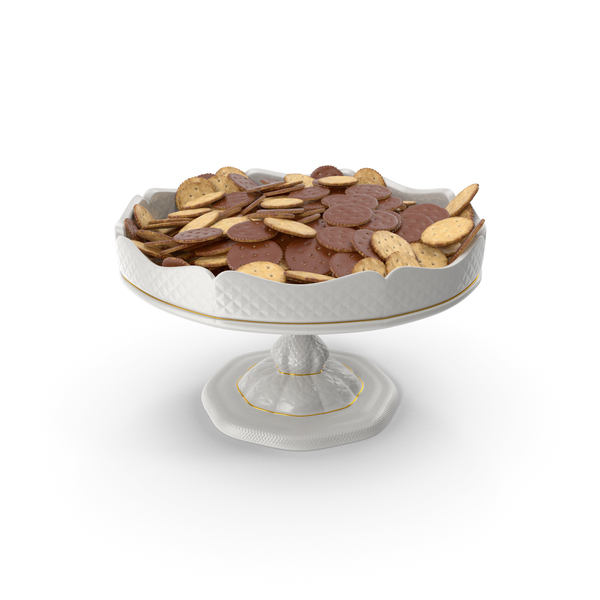 Cracker: Fancy Porcelain Bowl With Chocolate Covered Crackers PNG & PSD Images