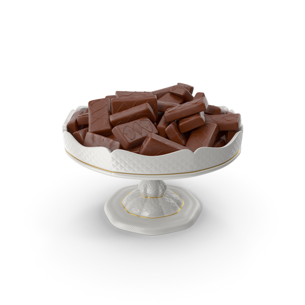 Fancy Porcelain Bowl with Chocolate Sponge Cakes PNG & PSD Images