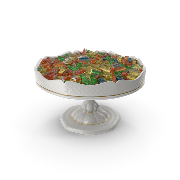 Fancy Porcelain Bowl With Gummy Bears PNG & PSD Images