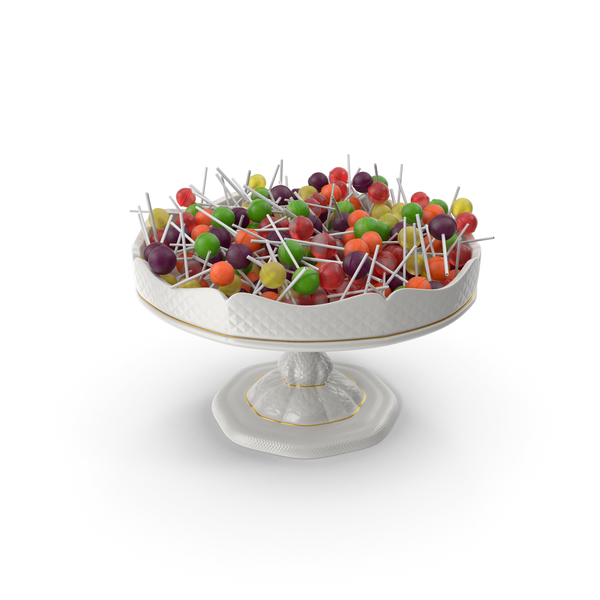 Fancy Porcelain Bowl with Lollipops PNG & PSD Images