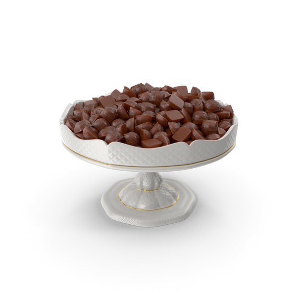 Fancy Porcelain Bowl with Mini Chocolate Candies PNG & PSD Images