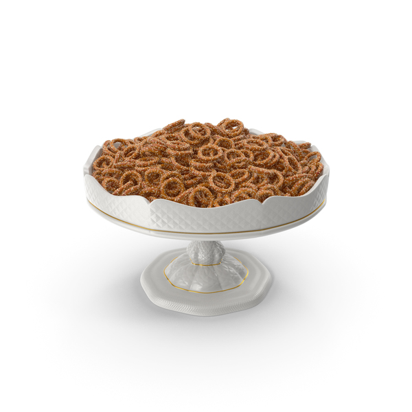 Fancy Porcelain Bowl With Mini Pretzel Rings With Sesame PNG & PSD Images