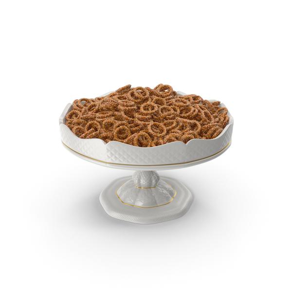 Fancy Porcelain Bowl With Mini Pretzel Rings With Sesame PNG & PSD Images