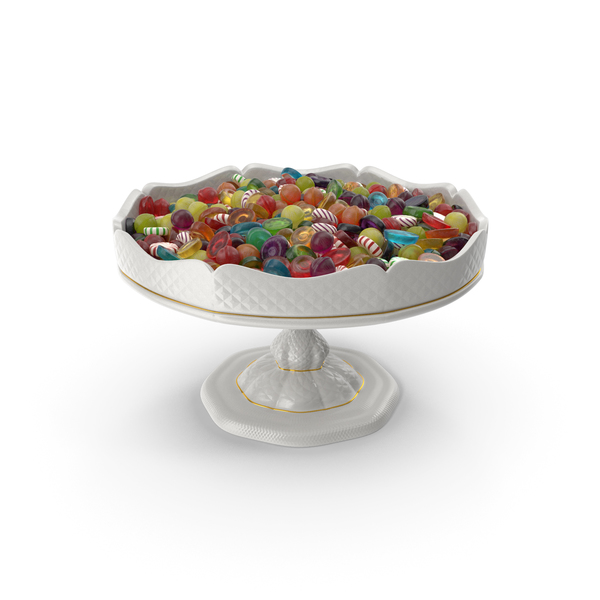 Fancy Porcelain Bowl with Mixed Hard Candy PNG & PSD Images