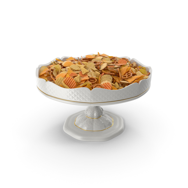 Snack Food And: Fancy Porcelain Bowl with Mixed Salty Snacks PNG & PSD Images
