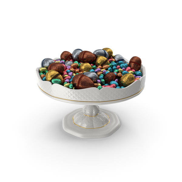 Candy: Fancy Porcelain Bowl with Mixed Wrapped Easter Chocolate Eggs PNG & PSD Images