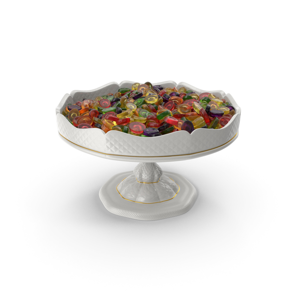 Fancy Porcelain Bowl with Oval Hard Candy PNG & PSD Images