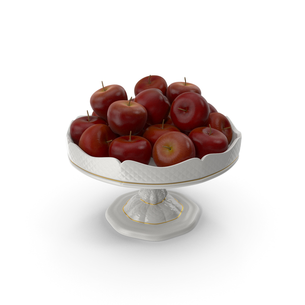 Fancy Porcelain Bowl with Red Apples PNG & PSD Images