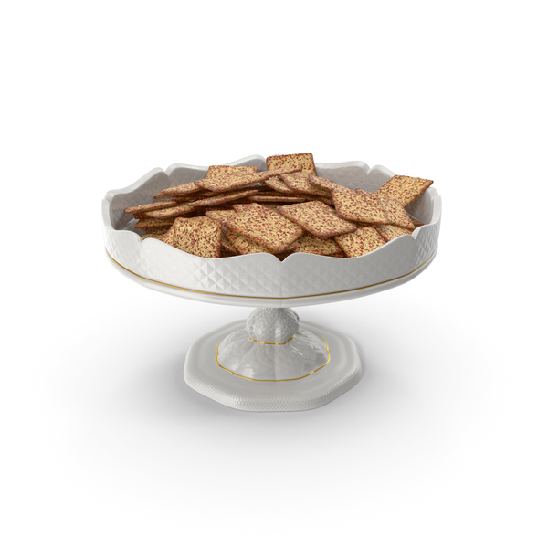 Fancy Porcelain Bowl with Spicy Crackers PNG & PSD Images