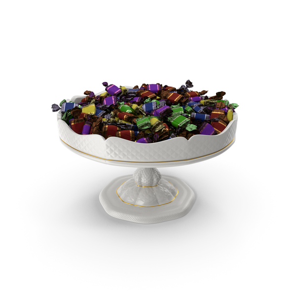 Fancy Porcelain Bowl with Toffee Candy PNG & PSD Images