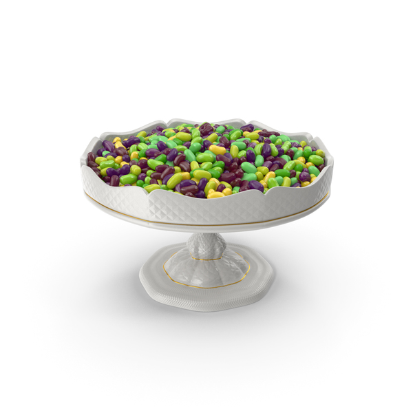 Fancy Porcelain Bowl With Tropical Flavored Jelly Beans PNG & PSD Images
