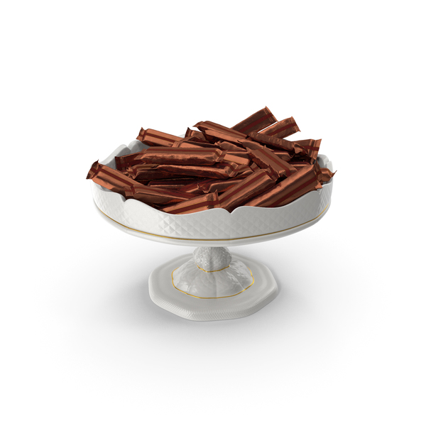 Chocolate: Fancy Porcelain Bowl with Wrapped Long Candy Bars PNG & PSD Images