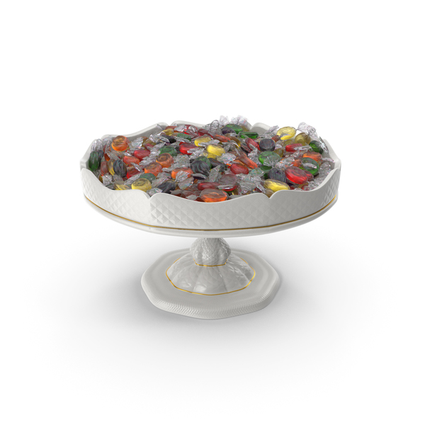 Fancy Porcelain Bowl with Wrapped Oval Hard Candy PNG & PSD Images