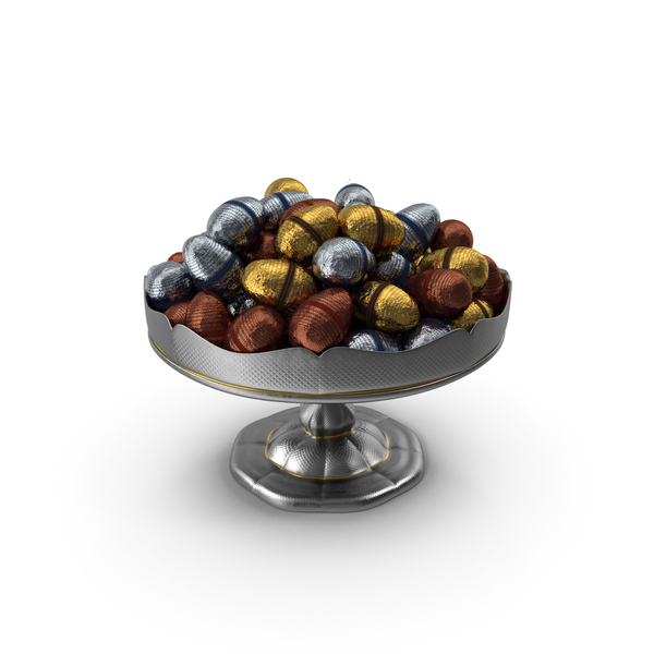 Fancy Silver Bowl with Fancy Easter Chocolate Eggs PNG & PSD Images