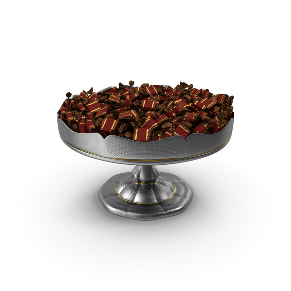 Fancy Silver Bowl with Toffee Candy PNG & PSD Images
