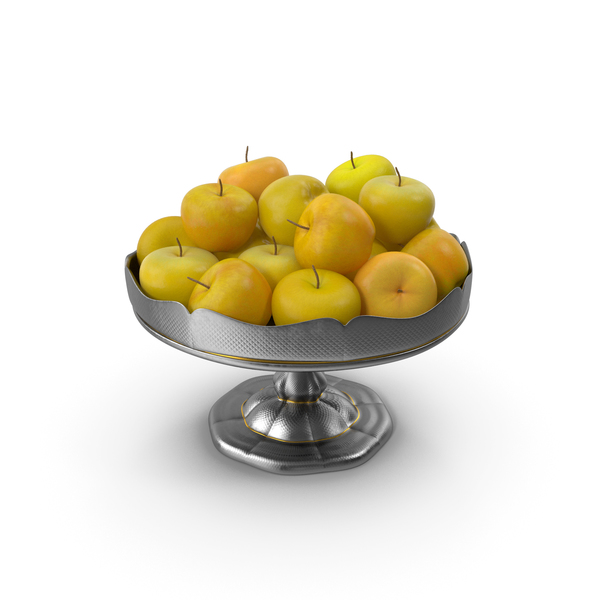 Fancy Silver Bowl with Yellow Apples PNG & PSD Images
