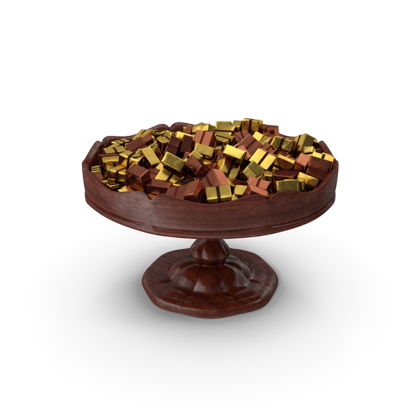 Fancy Wooden Bowl With Wrapped Chocolate Squares PNG & PSD Images