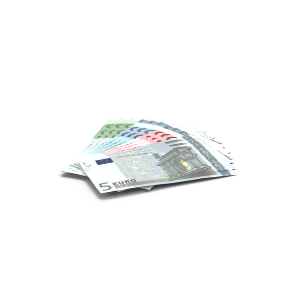 Fanned Out Euro Bills Object