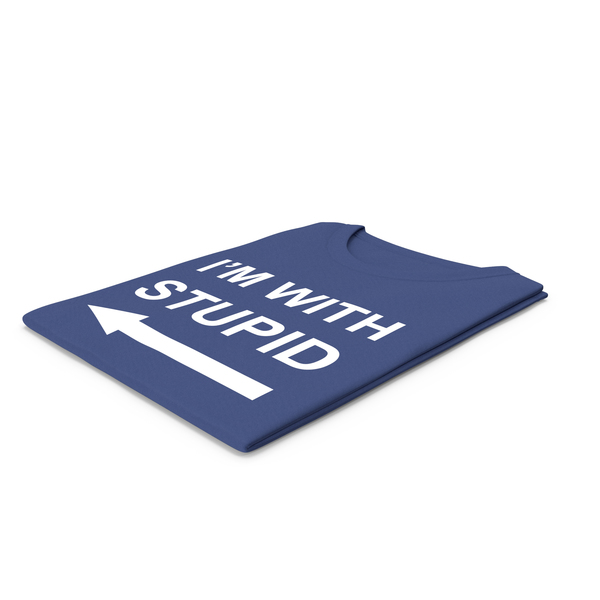 Tank Top: Female Crew Neck Folded Dark Blue I'm With Stupid PNG & PSD Images