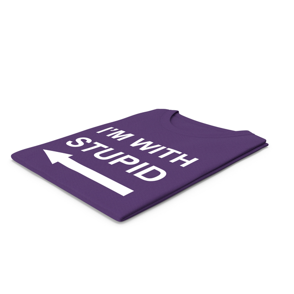 Tank Top: Female Crew Neck Folded Purple I'm With Stupid PNG & PSD Images