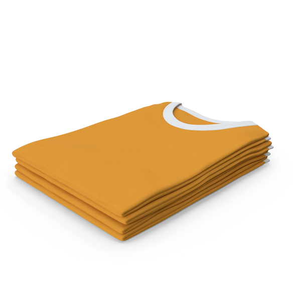 T Shirt: Female Crew Neck Folded Stacked White and Orange PNG & PSD Images
