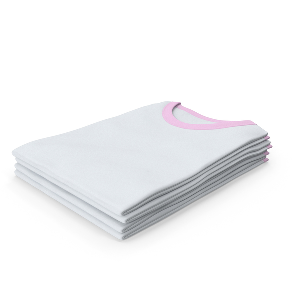 Tank Top: Female Crew Neck Folded Stacked White and Pink PNG & PSD Images