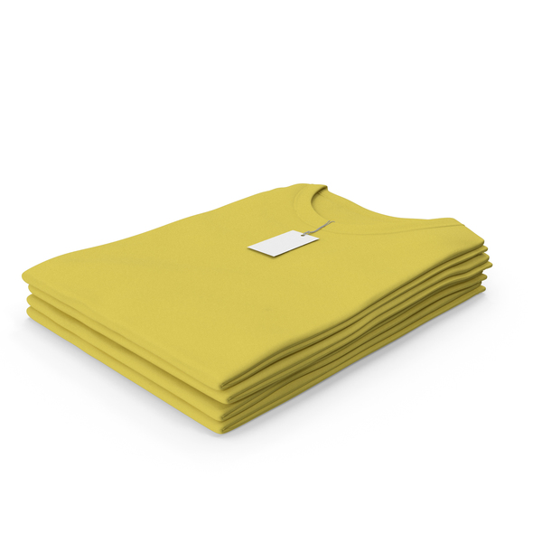T Shirt: Female Crew Neck Folded Stacked With Tag Yellow PNG & PSD Images
