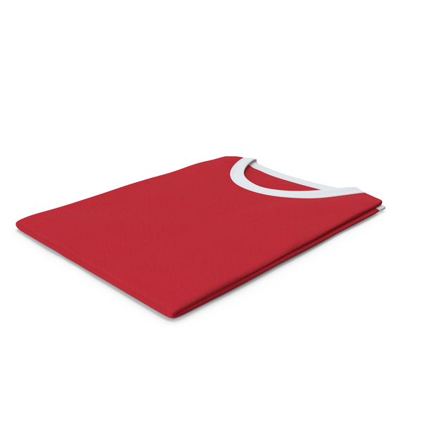 Tank Top: Female Crew Neck Folded White and Red PNG & PSD Images