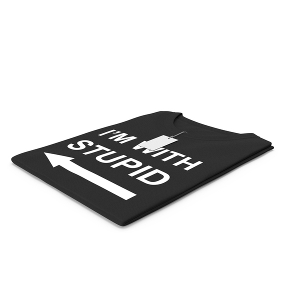 Tank Top: Female Crew Neck Folded With Tag Black Im With Stupid PNG & PSD Images