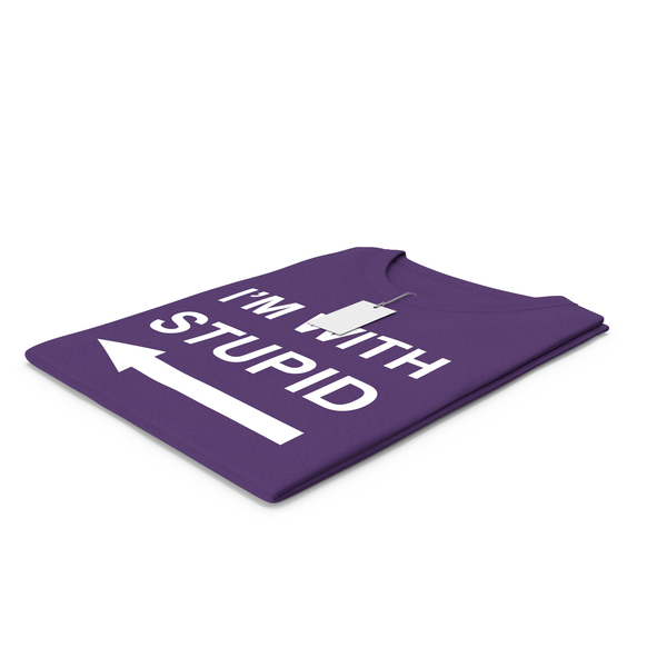 Tank Top: Female Crew Neck Folded With Tag Purple Im With Stupid PNG & PSD Images