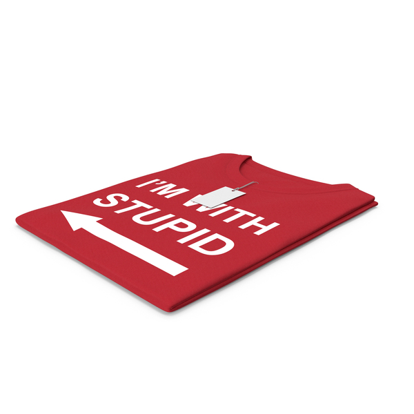 Tank Top: Female Crew Neck Folded With Tag Red Im With Stupid PNG & PSD Images