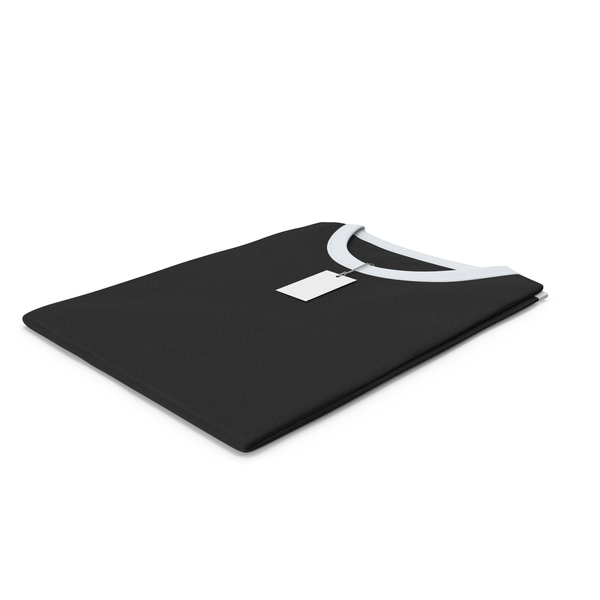 Tank Top: Female Crew Neck Folded With Tag White and Black PNG & PSD Images