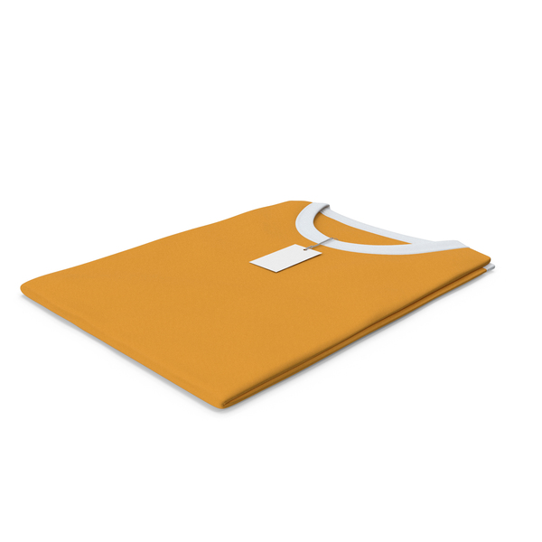 Shirt: Female Crew Neck Folded With Tag White and Orange PNG & PSD Images