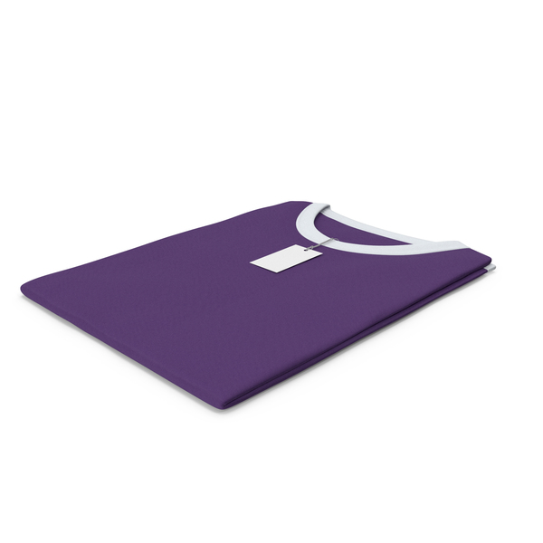Tank Top: Female Crew Neck Folded With Tag White and Purple PNG & PSD Images