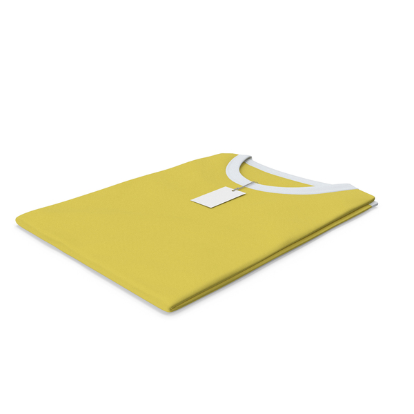 Tank Top: Female Crew Neck Folded With Tag White and Yellow PNG & PSD Images
