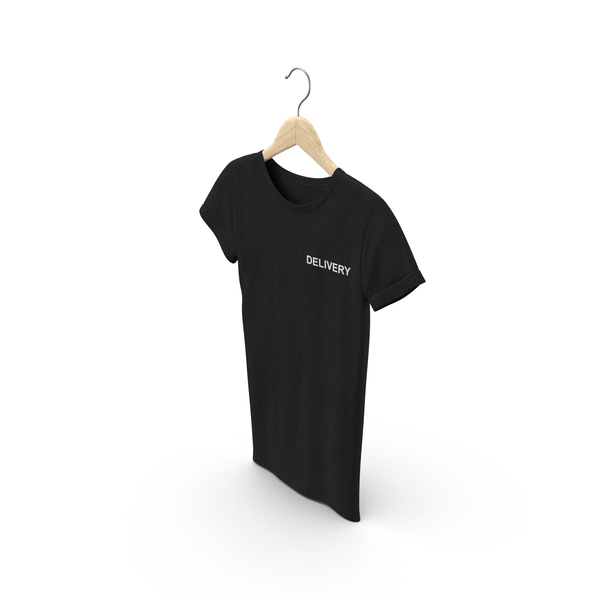 T Shirt: Female Crew Neck Hanging Black Delivery PNG & PSD Images