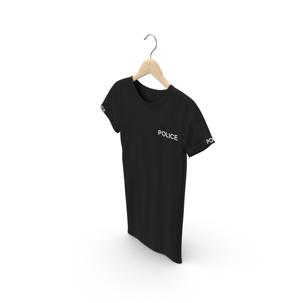 T Shirt: Female Crew Neck Hanging Black Police PNG & PSD Images