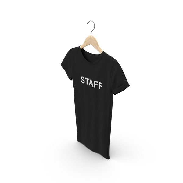 Shirt: Female Crew Neck Hanging Black Staff PNG & PSD Images