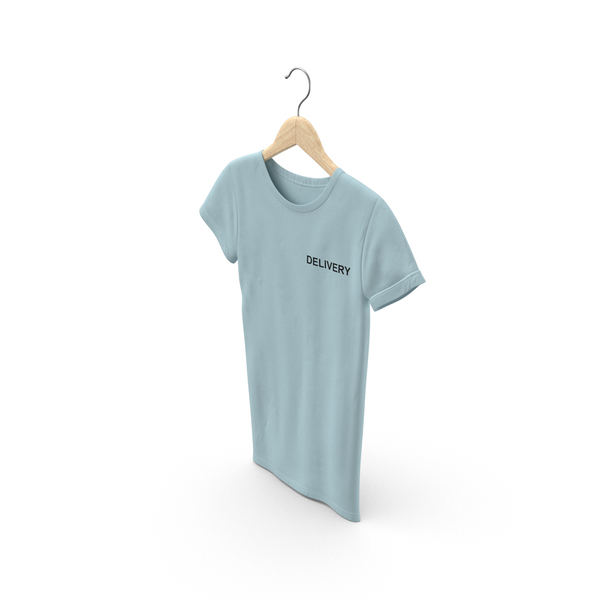T Shirt: Female Crew Neck Hanging Blue Delivery 03 PNG & PSD Images