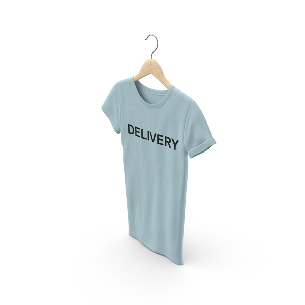 T Shirt: Female Crew Neck Hanging Blue Delivery PNG & PSD Images
