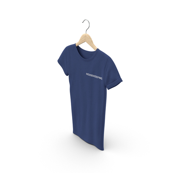 T Shirt: Female Crew Neck Hanging Dark Blue Housekeeping PNG & PSD Images
