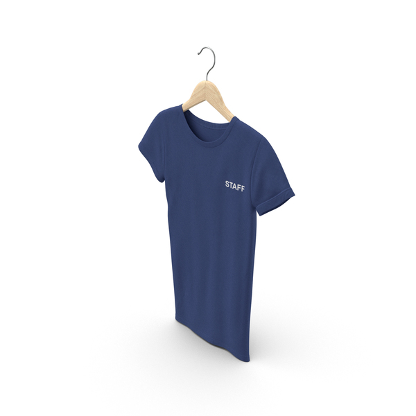 T Shirt: Female Crew Neck Hanging Dark Blue Staff PNG & PSD Images