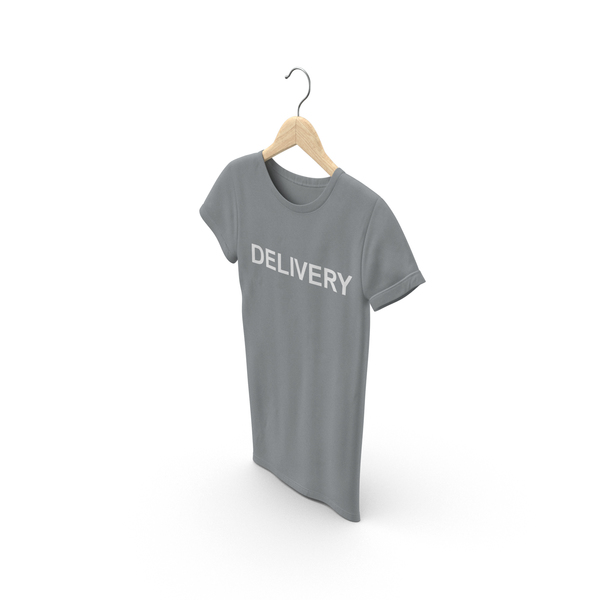 T Shirt: Female Crew Neck Hanging Gray Delivery PNG & PSD Images